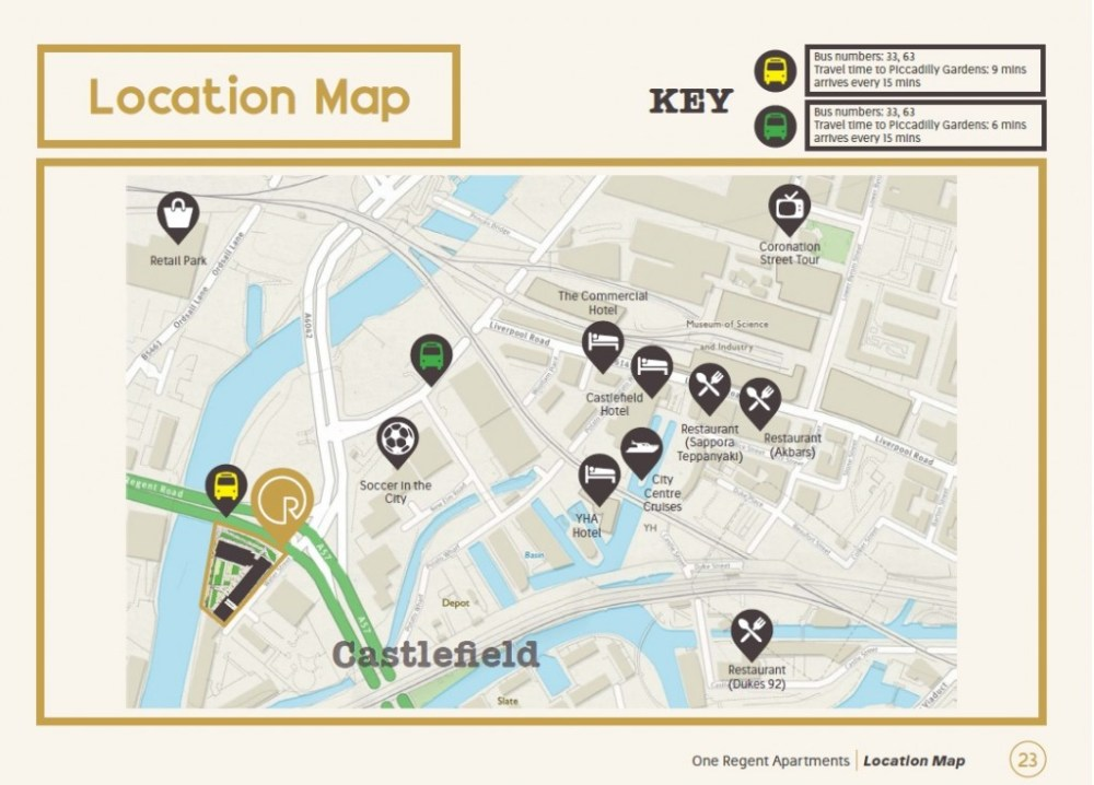 One Regent Manchester Location Map