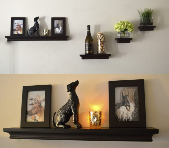 Creative Uses of Floating Shelves from IKEA for Stylish Storage     Stunning Dog Ornaments on Classic Dark Floating Shelves IKEA for Vintage  Room Interior