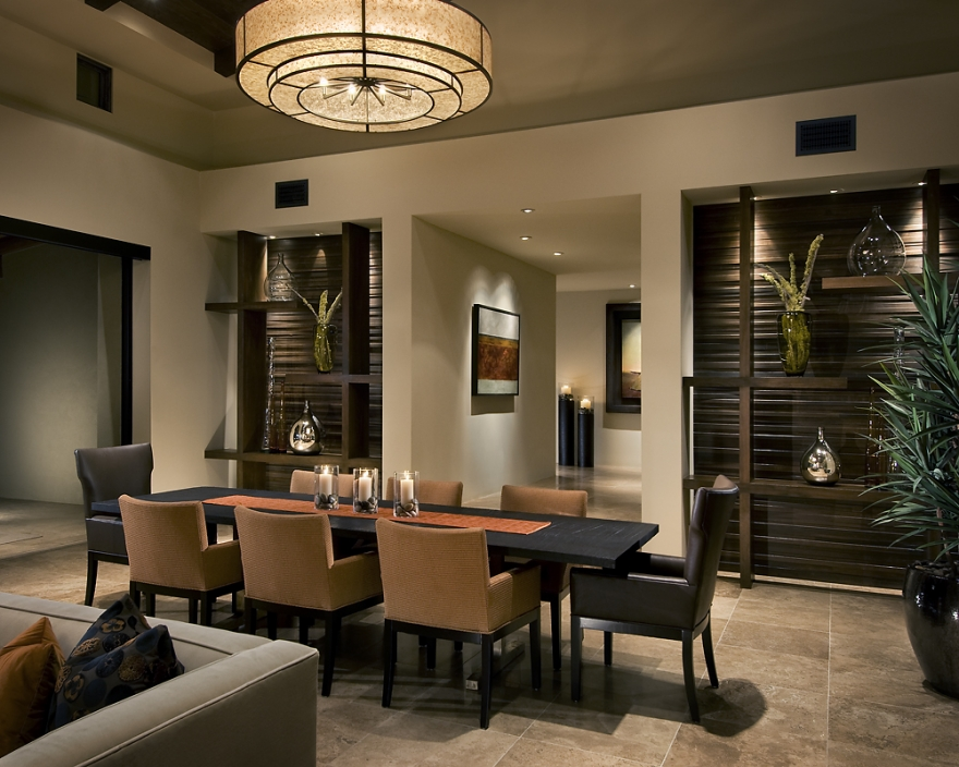 Inspiring Dining Room Interior Design Ideas You Must Try   Ideas 4 Homes Wide Brown Ceiling Lamp for Stylish Dining Room Interior Design with Brown  and Black Chairs
