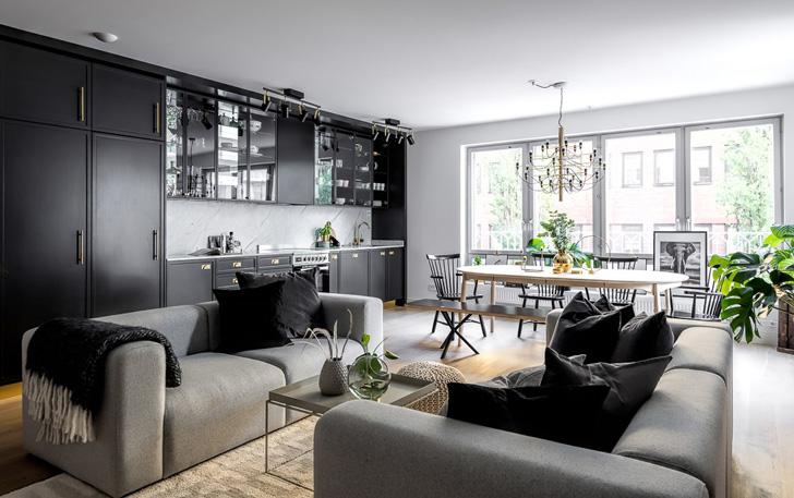 Modern black white interior design