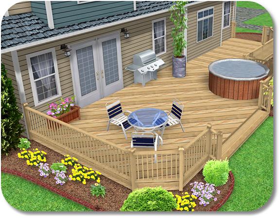 landscape design software adding a deck