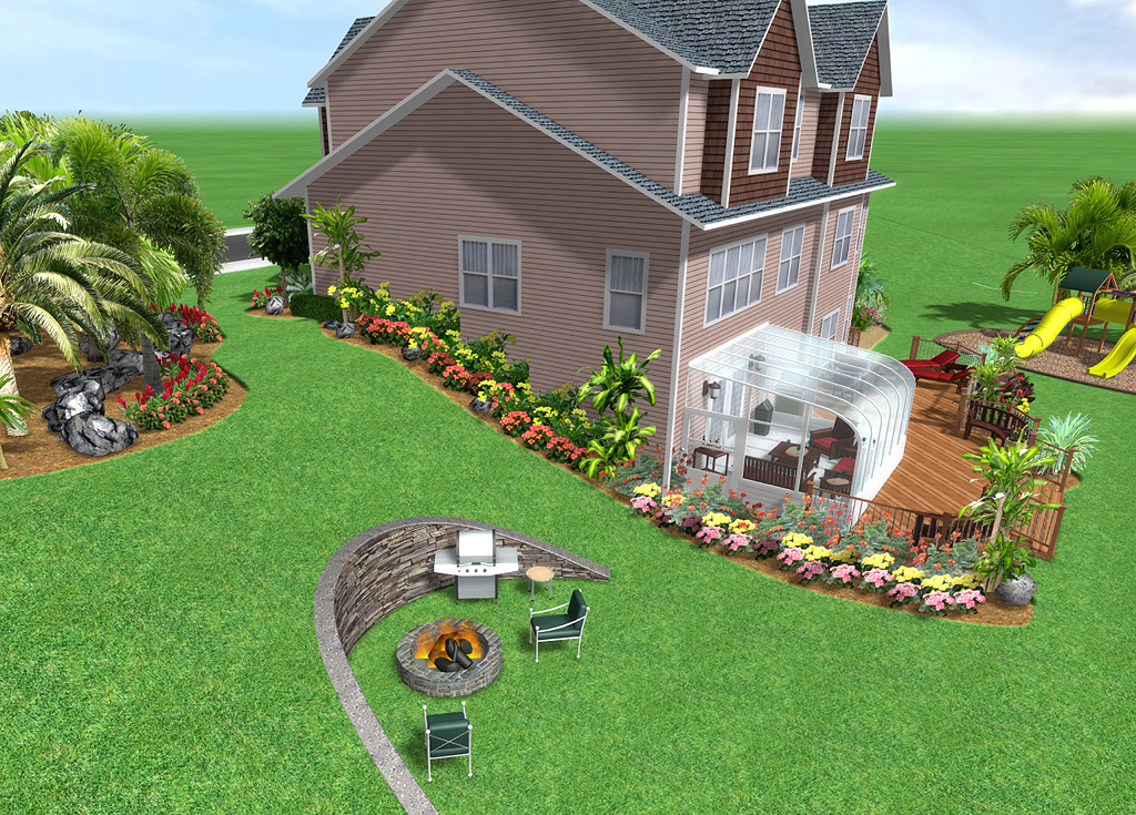 Landscape Design Software Features - Realtime Landscaping Plus on Backyard Hill Landscaping Ideas  id=95594