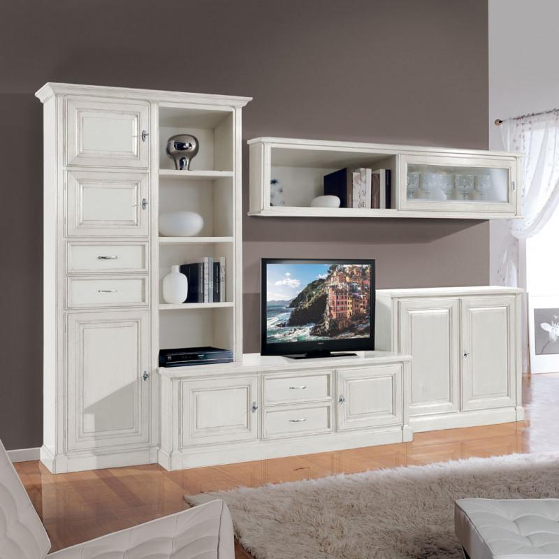 Le pareti attrezzate classiche bianche sono perfette per arredare un soggiorno in stile shabby chic. Parete Attrezzata Mozart A Moduli