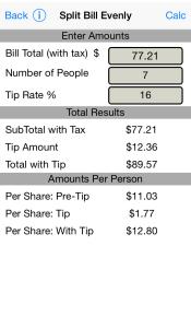 Split Bill Evenly iPhone Screen