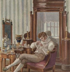 A superfluous man (Eugene Onegin) idly polishing his fingernails. Illustration by Elena Samokysh-Sudkovskaya, 1908
