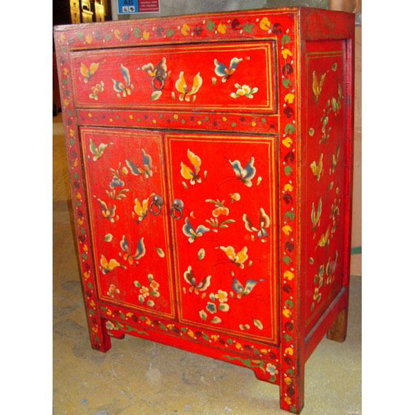 Armoirette 2 Portes Et 1 Tiroir Papillon Rouge Style Chine