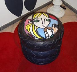 fare un pouf con gli pneumatici