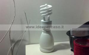 incollare la lampadina al contenitore di plastica