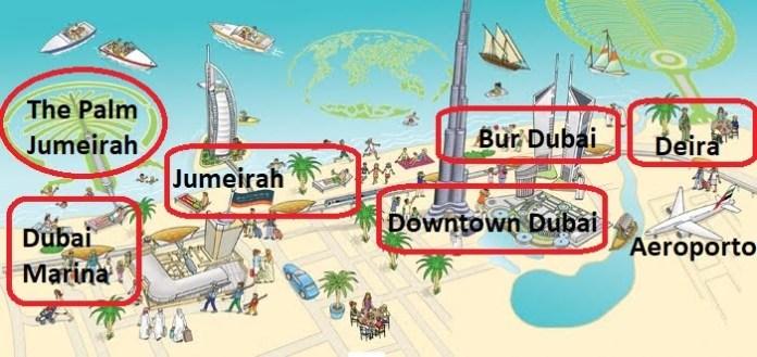 Mappa delle migliori zone dove alloggiare a Dubai