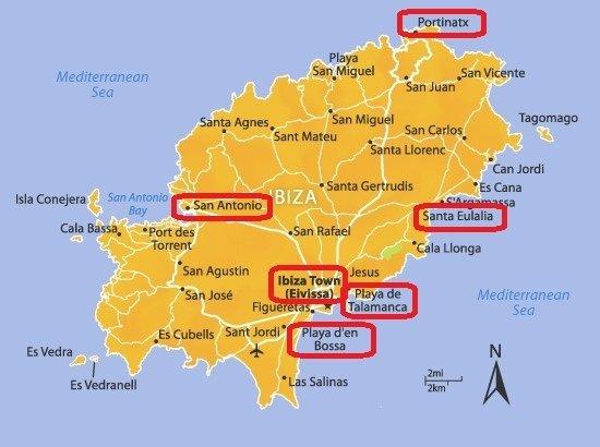 Mappa migliori zone dove alloggiare a Ibiza