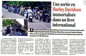 Harley Davidson in Mauritian newspaper