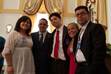 The Americans with President Funes