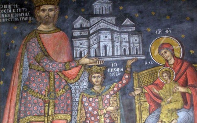 Frescă înfățișându-l pe Mircea cel Bătrân, alături de fiul sau Mihai și de Fecioara Maria cu Pruncul.(Mânăstirea Cozia)