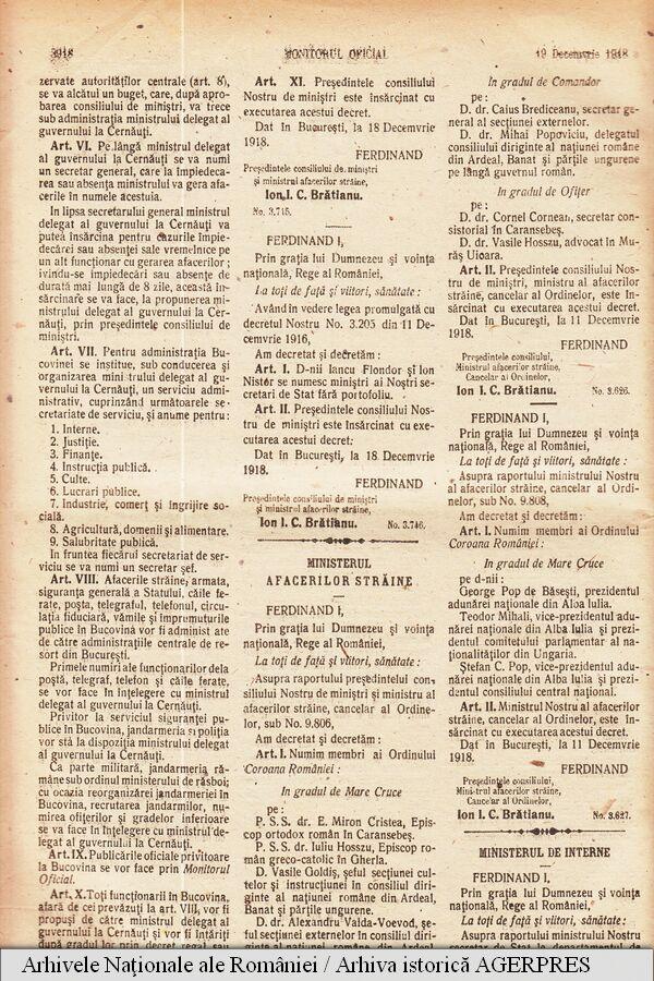 Decretul — lege prin care regele Ferdinand I a consfințit unirea Bucovinei cu România, apărut în Monitorul Oficial nr. 217, din 19 decembrie 1918/1 ianuarie 1919.)