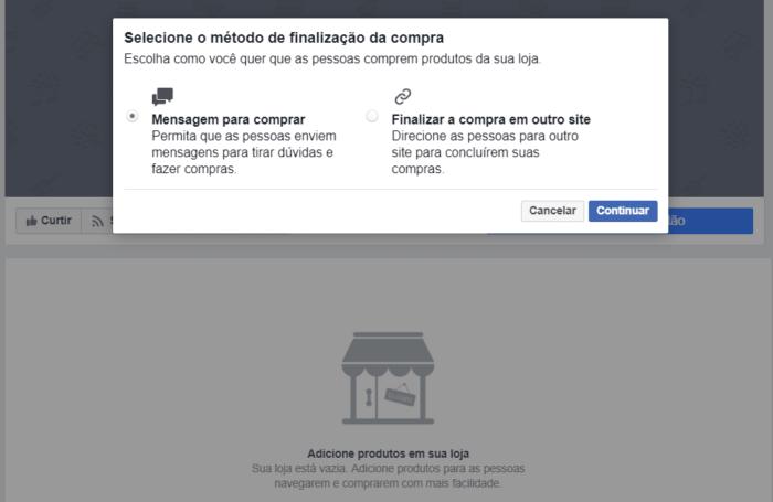 configuração loja facebook
