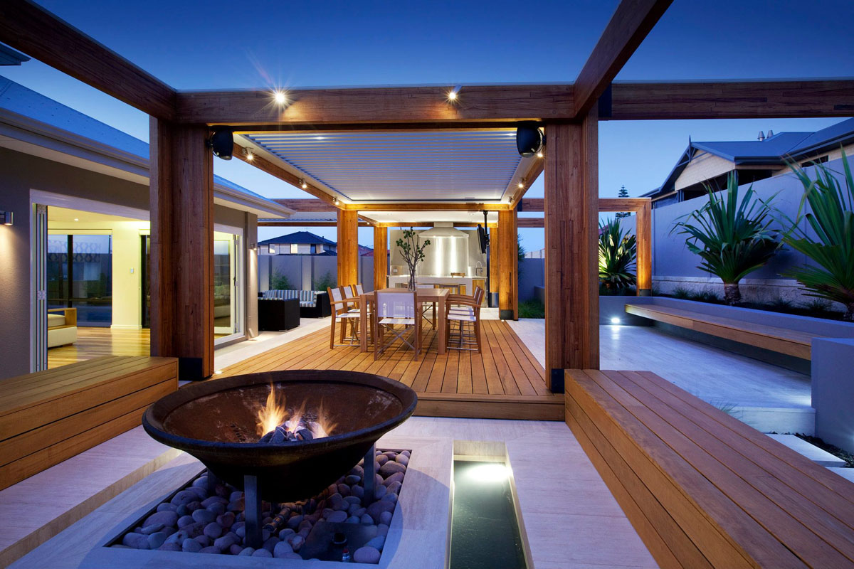 Stylish Backyard With Teak Decking   iDesignArch ... on Backyard Designs  id=74094