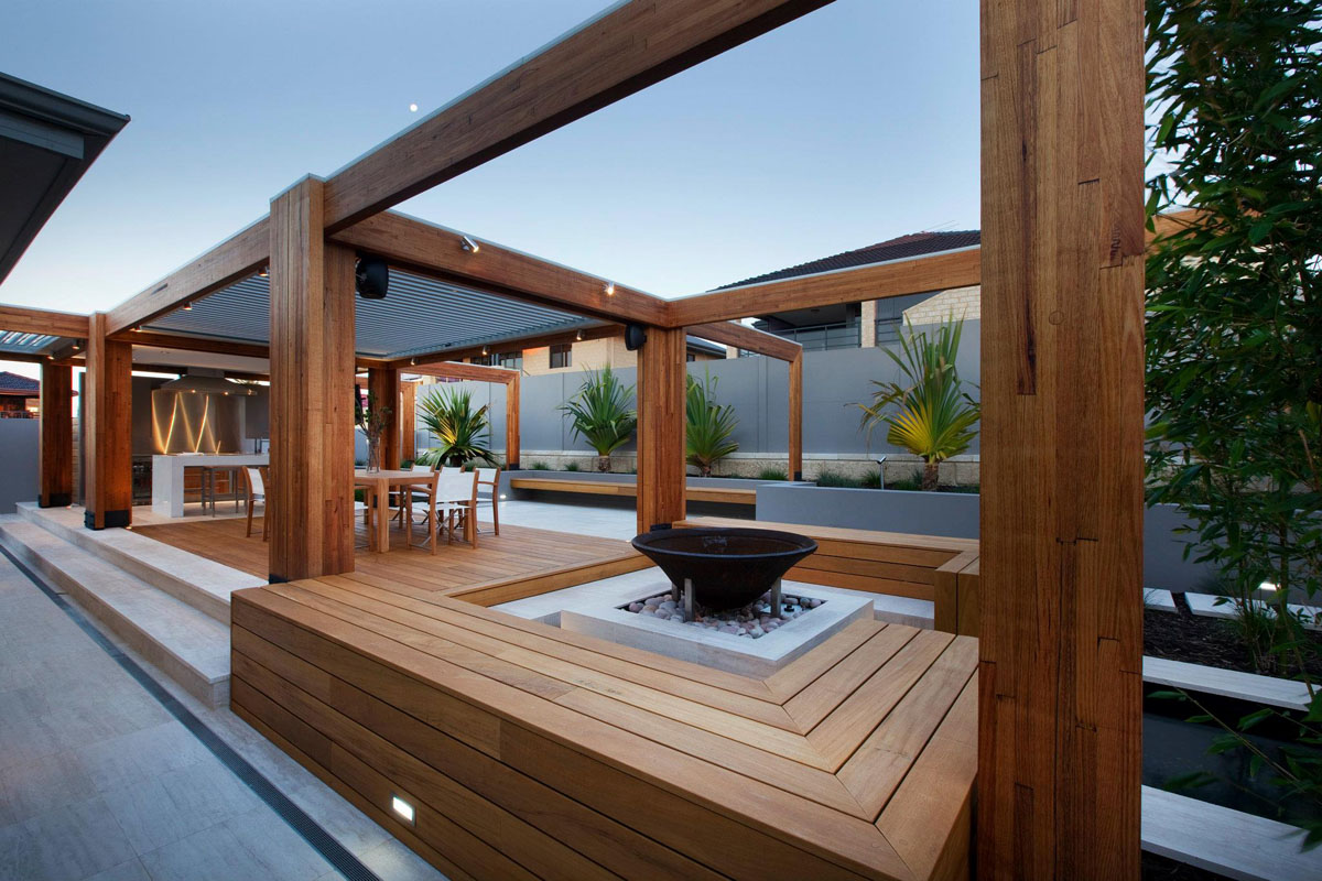 Stylish Backyard With Teak Decking Idesignarch