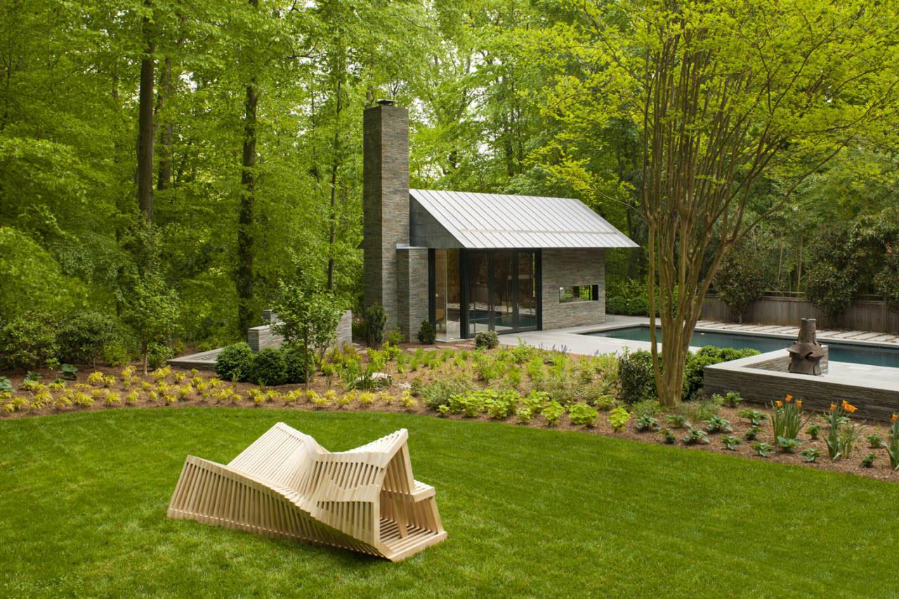 Contemporary Garden Pavilion Pool House | iDesignArch ... on Mansion Backyard Ideas id=44431