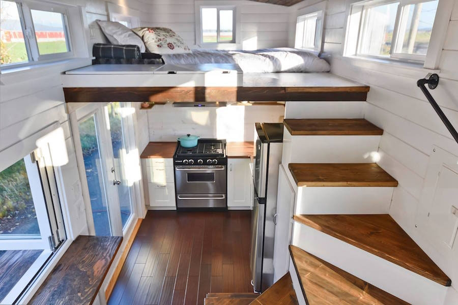 Custom Mobile Tiny House With Large Kitchen And Two Lofts | House Plans With Stairs In Kitchen | Luxury | Separate Kitchen | Compact Home | 2 Bedroom Townhome | Central Courtyard House