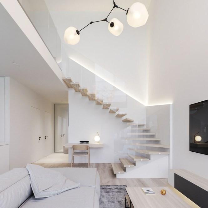 Minimalistic Open Plan Duplex Apartment