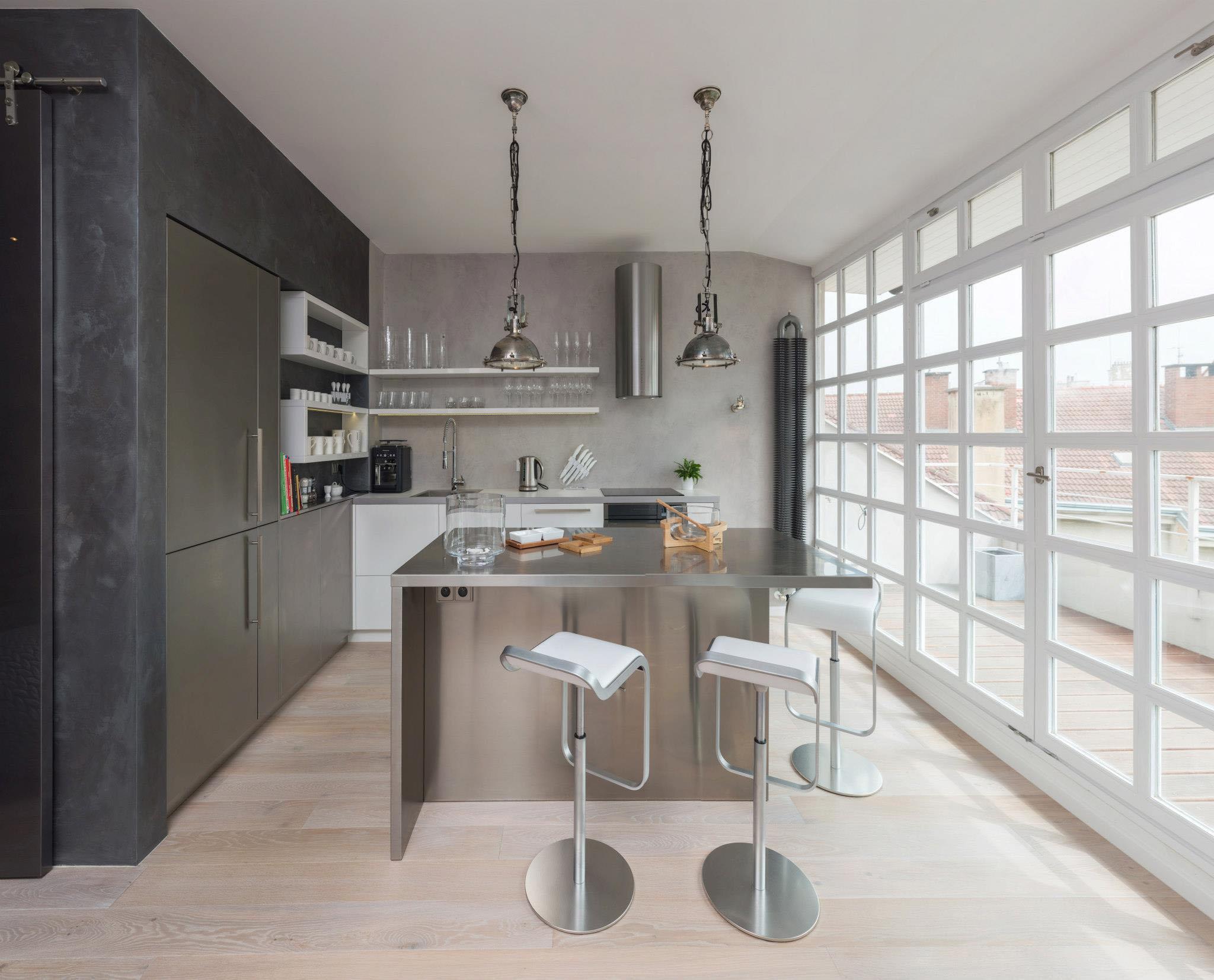 Modern Attic Loft With Grey Palette In Prague