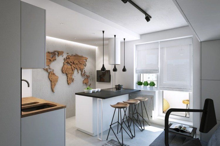 Functional Modern Small Apartment In Moscow With A Stylish Kitchen Idesignarch Interior Design Architecture Interior Decorating Emagazine
