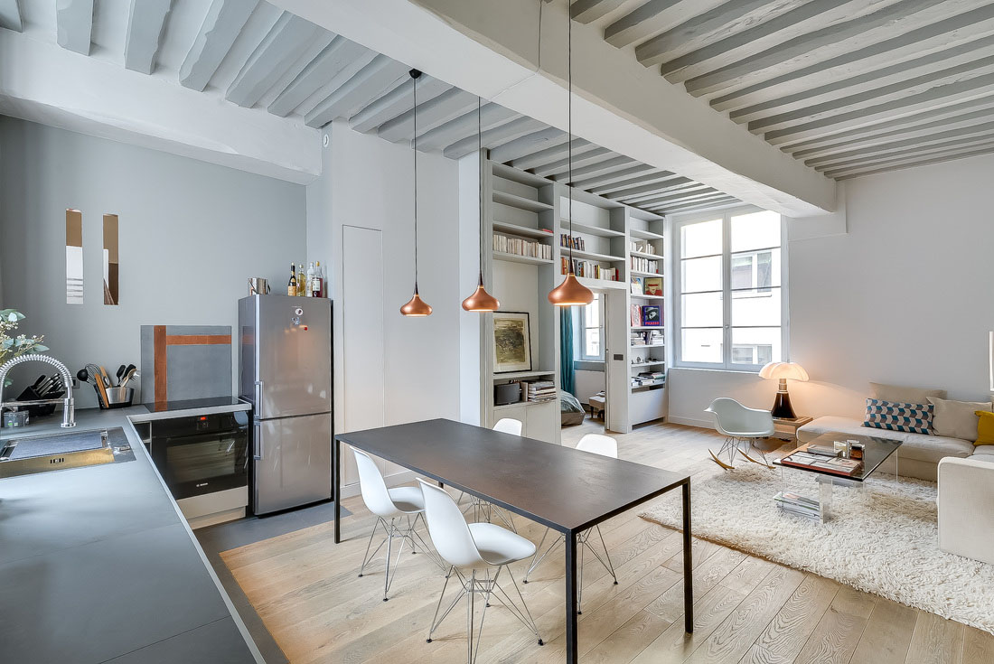 Best Kitchen Gallery: Fresh And Modern Small Apartment In The Heart Of Marais In Paris of Apartment In Paris  on rachelxblog.com