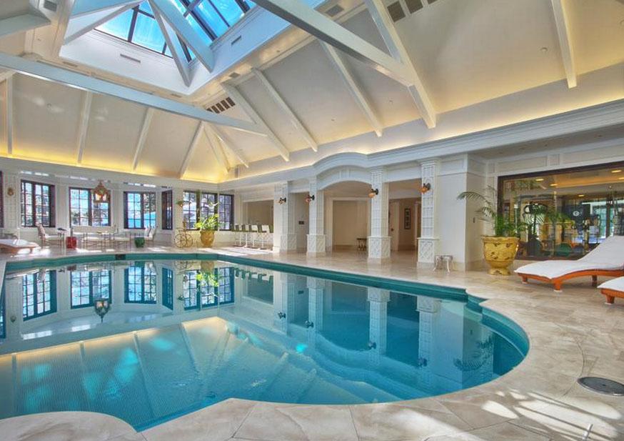 Elegant Private Indoor Glass Mosaic Swimming Pool With Atrium IDesignArch Interior Design