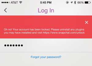 Snapchat blocare cont