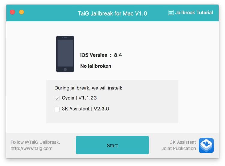 TaiG iOS 8.1.3 - iOS 8.4 jailbreak Mac 5