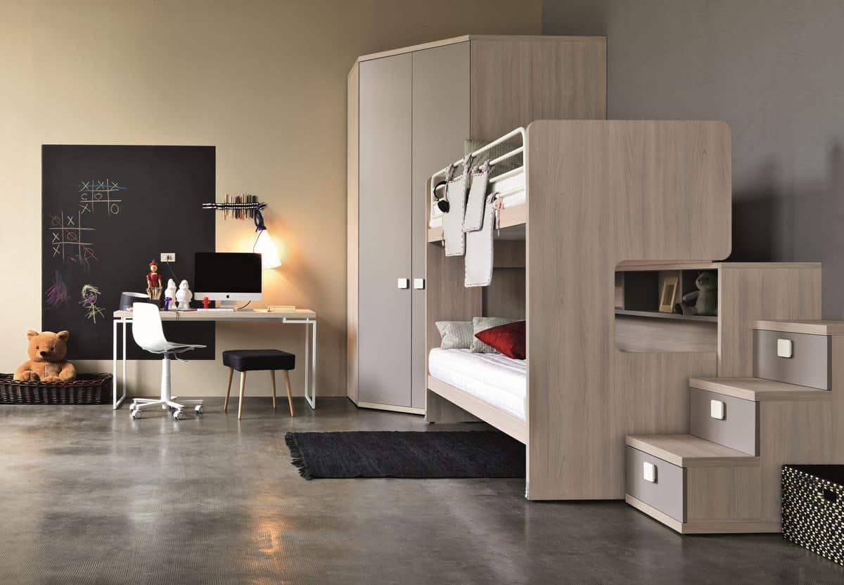 La scrivania bianca è un must per la cameretta dei ragazzi. Children S Bedroom Bunk Bed With Ladder Idfdesign