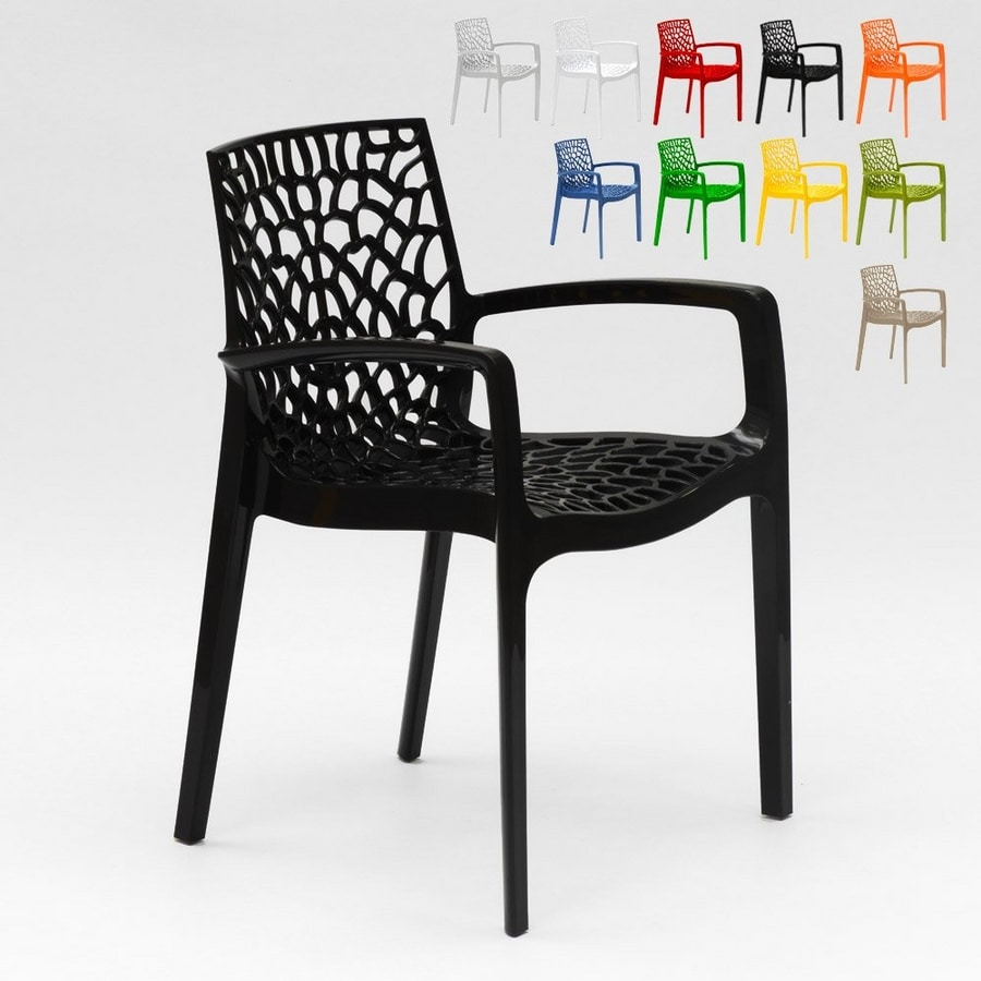 stacking chair with armrests made of
