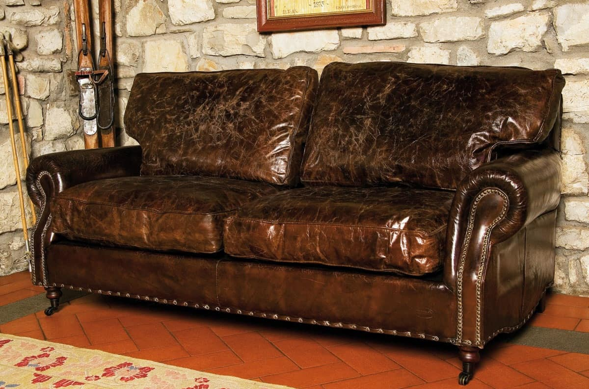 3 Seat Sofa In Distressed Leather Country Style Idfdesign