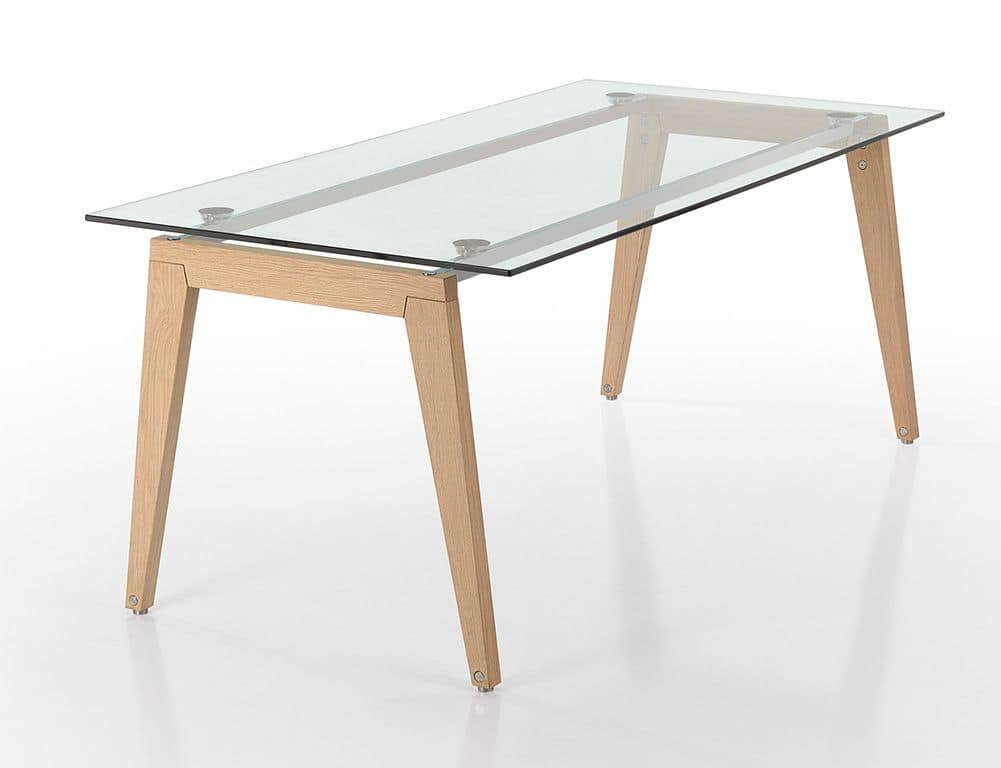 wooden legs and glass top