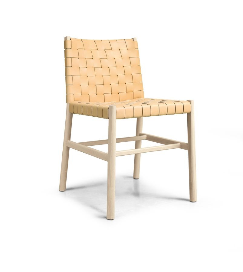 chaise en bois avec cuir tresse idfdesign