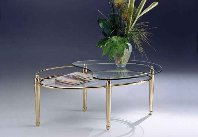 table basse ovale en laiton 2 etageres
