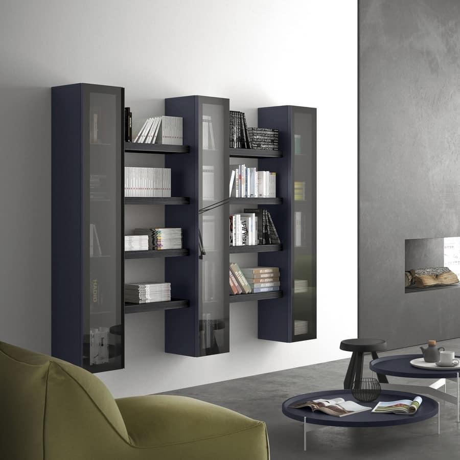 Vetrina soggiorno noa 1 anta mobile soggiorno moderno design salotto vetrinetta. Scaffale Modulare Con Vetrina Per Salotti Moderni Idfdesign