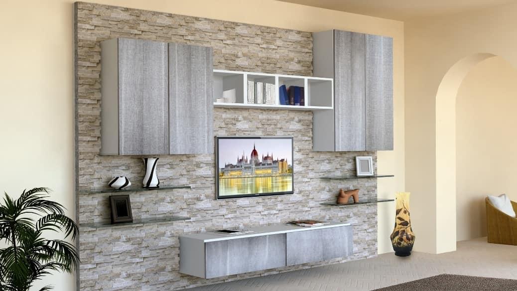 Visualizza altre idee su parete attrezzata, parete, arredamento soggiorno. Mobile Da Soggiorno Con Parete Rivestita In Pietra Idfdesign