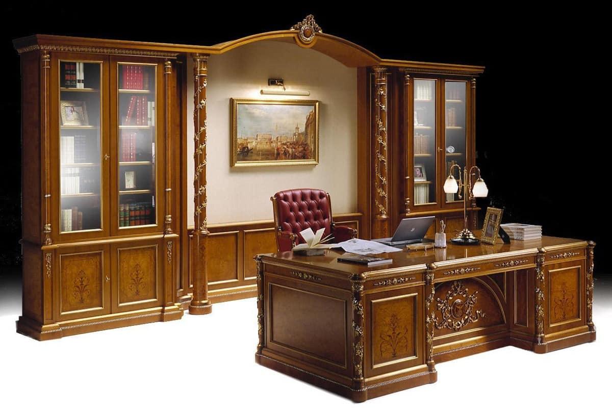 Ecoufficio, il megastore di mobili per ufficio con i prezzi piu' bassi del sud italia. Mobili Per Ufficio Classico Di Lusso Libreria E Scrivania Intarsiate Idfdesign