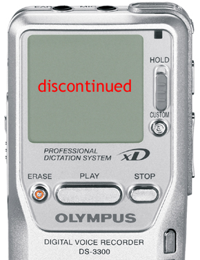 Olympus DS-3300 Digital Dictaphone discontinued in Australia