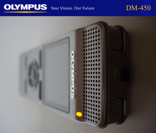 Olympus DM-450 Digital Voice Recorder - Available in Australia from Dictate Australia - www.dictate.com.au