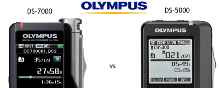 Compare the new Olympus DS-7000 vs DS-5000 digital dictaphone