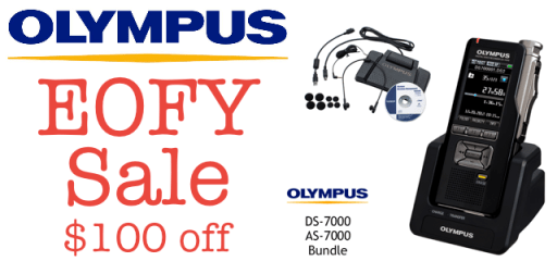 Olympus DS-7000 AS-7000 Bundle Discount Coupon Code - Dictate Australia - EOFY - End Of Financial Year