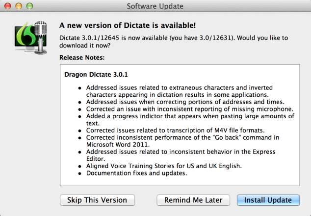 Nuance Dragon Dictate 3 bug fix free update upgrade to version 3.0.1 available for download