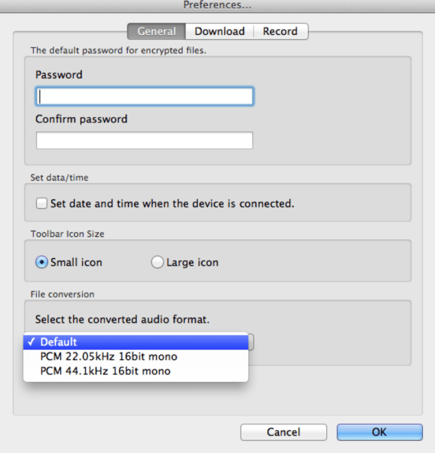 DSS Player Plus v7.3.3 Audio File Conversion Settings