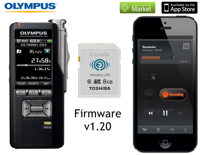 Olympus Dictation iPhone iOS and Android app FlashAir compatible with v1.20 firmware for DS-7000 DS-3500