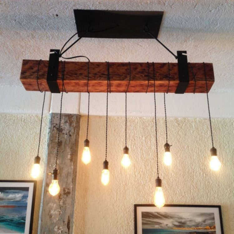 Rustic Wood Beam Lighting Industrial Chandelier ID Lights