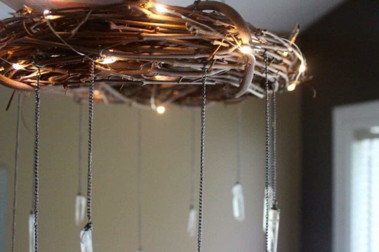 Bohemian Wood And Crystal Chandelier ID Lights