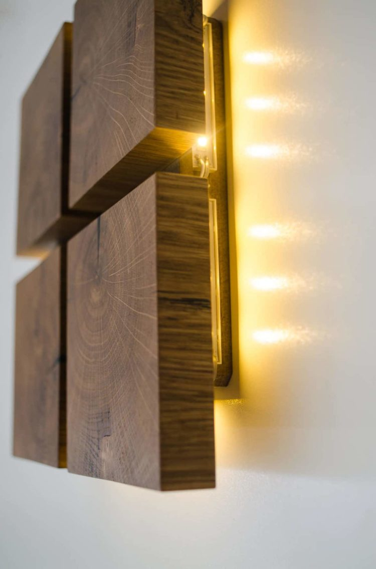 Square Wooden Oak Sconce • iD Lights on Wood Wall Sconces id=22047