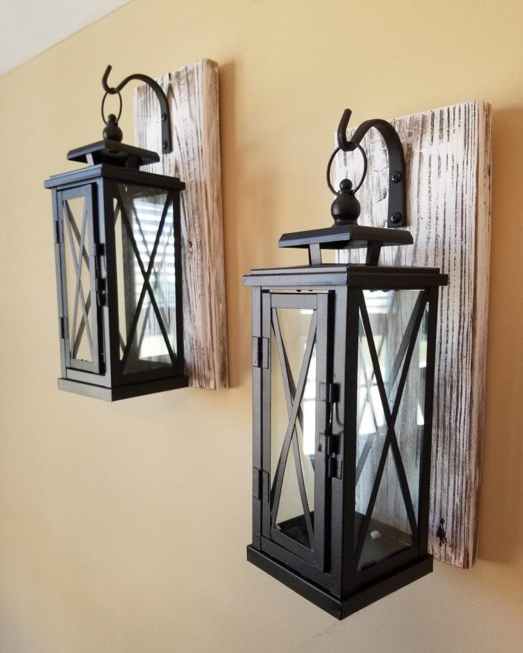 Set of 2 MEDIUM Rustic Wall Mounted Lantern Sconces • iD ... on Rustic Wall Sconces id=16023
